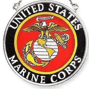 Amia Hand Painted Glass Suncatcher With United States Marine Corps Logo 3-12-inch Circle
