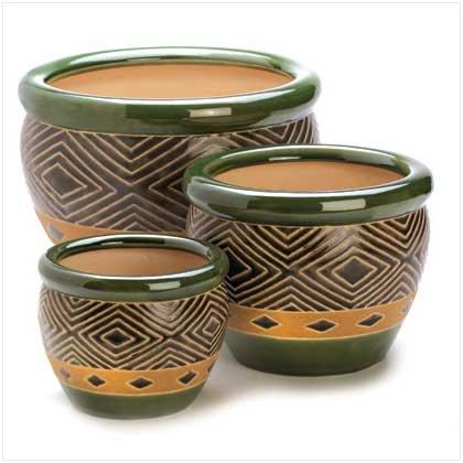 Giftsamp Decor Ceramic Jade Garden Planters Flower Plant Pot Set 3-piece