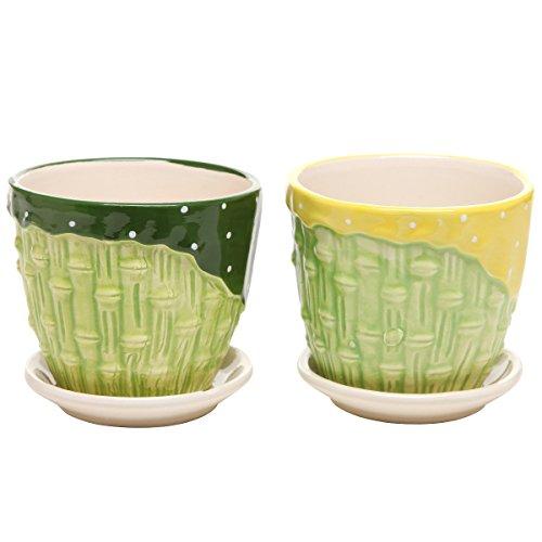 Mygift&reg Bamboo Garden Series Ceramic Flower Pot Planter W Attached Saucer - Set Of 2 - Greenamp Yellow