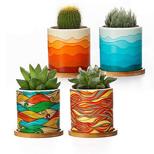 Ceramic Succulent Pots Set of 4Mini Succulent Pots Colorful Mandalas Pattern 3 Inch Ceramic Tiny Plant Pots for Cactus with Drainage Hole Bamboo Trays Desert Legend