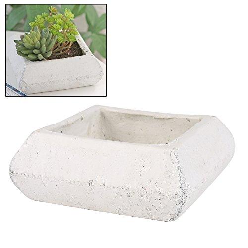 Mygift Cement Succulent Plant Pot Rustic Square Cactus Planter Off-white