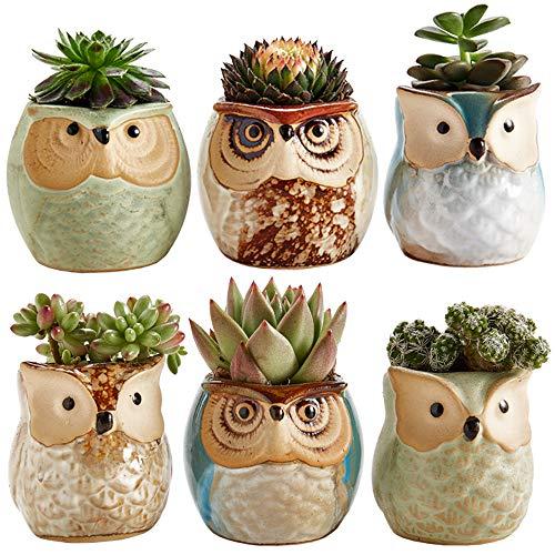 Sun-E 25 Inch Owl Pot Ceramic Flowing Glaze Base Serial Set Succulent Plant Pot Cactus Plant Pot Flower Pot Container Planter Bonsai Pots with A Hole Perfect Gift Idea 6 in Set