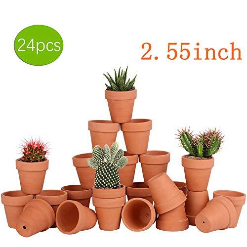 24pcs Small Mini Clay Pots 255 Terracotta Pot Clay Ceramic Pottery Planter Cactus Flower Terra Cotta Pots Succulents Nursery Pots with Drainage Hole for IndoorOutdoor Plants CraftsWedding