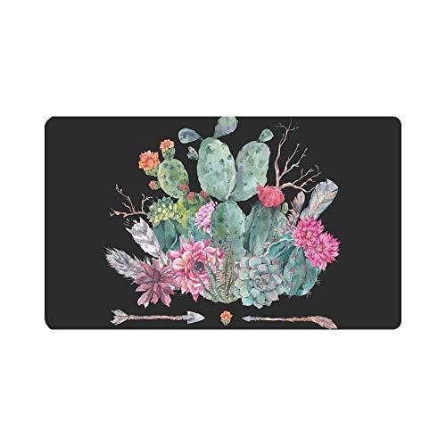 INTERESTPRINT Boho Watercolor Cactus Flowers Feathers Arrows Doormat Indoor Outdoor Entrance Rug Floor Mats Shoe Scraper Door Mat Non-Slip Home Decor Rubber Backing Large 30L x 18W