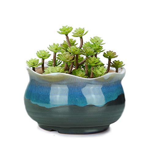 VanEnjoy 5 Large Ceramic Succulent Pot Multicolor Colorful Flowing Glazed Indoor Home Décor Cactus Flower Bonsai Pot Planter Container Candle Holder Ring Bowl Blue A