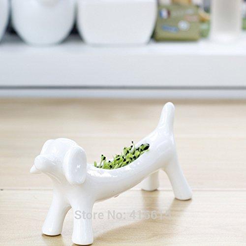 Ceramic Animal Flower Plant Pot Ornaments Small Potted Succulents Flowerpot Mini Dog Desktop Landscape Pots Green Bonsai Plants