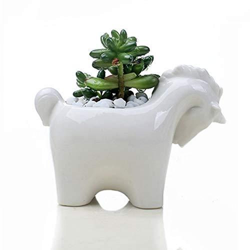 CheeseandU 1Pack Cute Unicorn White Mini Ceramic Flower Pot White Animals Green Succulent Planter Flowerpot for Window Box Home Office Desktop Decorative Container Gift