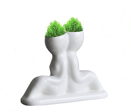 Homejoy New Mini Novel Ceramic Porcelain Bonsai Back To Back Grass Doll Hair Plant Head Planter Gift