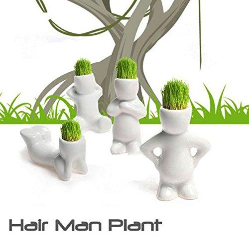 Oagtech Mini White Grass Doll Hair Men Garden Plant Ceramic Bonsai Pots pattern 2