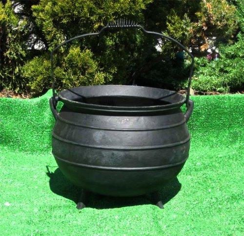 X-lg Cauldron Kettle Pot  Planter - Tripod Legs Bail Handle Cast Iron