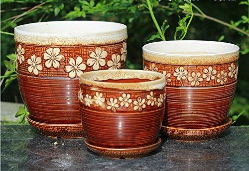 Handmade Ceramic Home Garden Antique Small Flower Figurine Design Flower Planter Pot with Saucer Tray Set of 3