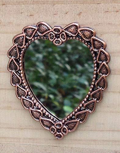 Miniature Dollhouse FAIRY GARDEN ~ Antique Style Copper Color Heart Mirror Fairy Garden Micro Landscape Craft Decor