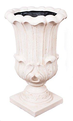 Birdrock Garden Melodia Urn - Aged White  Indoor Outdoor Planter Urn