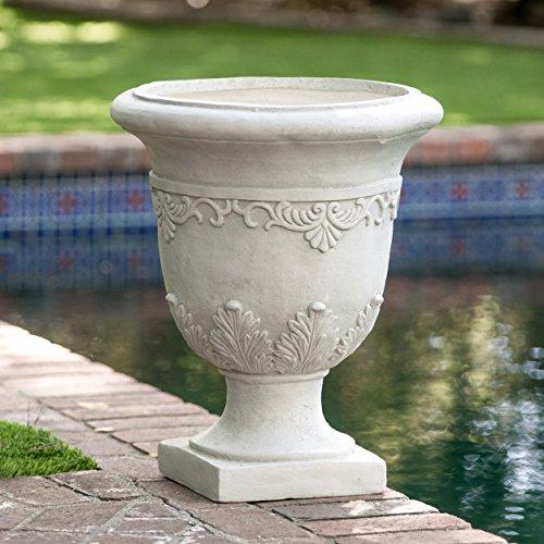 White Indooroutdoor Antique Inspired Quartz Stone Urn Planter