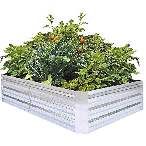 Galvanized Raised Garden Beds for Vegetables Large Metal Planter Box Steel Kit Flower Herb 6x3x1ft