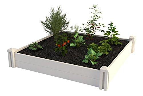 Vita Gardens VT17108 4X4 Vinyl Raised x 4ft Modular Garden Bed 11 H White