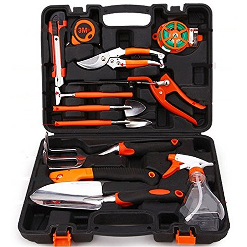DecentGadget 12-Piece Garden Tool Set Precision Hand Tool Kit for Home Outdoor with Gardening Carry Case