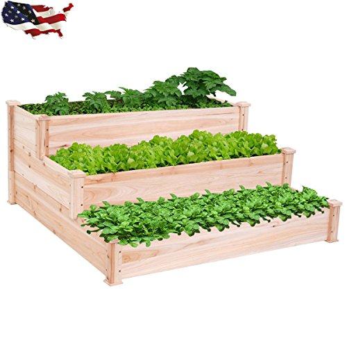 3 Tier Wooden Raised Vegetable Garden Bed Elevated Planter Kit Outdoor Gardening B4G341TG 32W4-15RTH312161