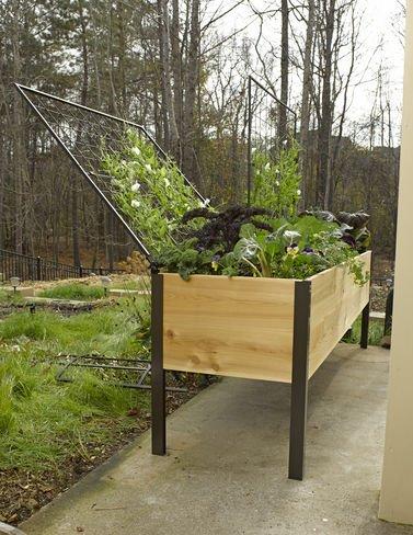 Elevated Cedar Planter Box And Space-maker Pivoting Trellis Set 28217 X 88217