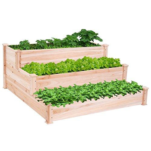 Raised Vegetable Garden Bed 3 Tier Elevated Planter Kit Outdoor Wooden Gardening GG4346 43ETR98-Y173818