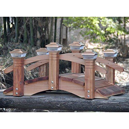 Redwood Short Post 4-ft Garden Bridge