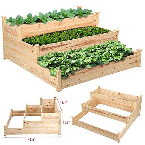 go2buy 3-Tier Cedar Wood Elevated Planter Garden Vegetable Bed Natural 4ft x 4ft