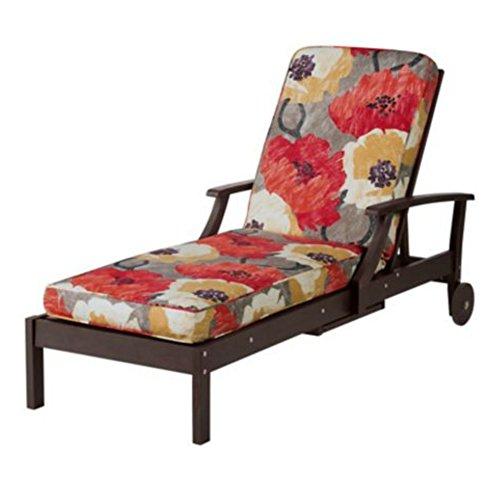 Chaise Cushion-box Edge 72&quot X21&quot X 3-12&quot garden Poppy Print