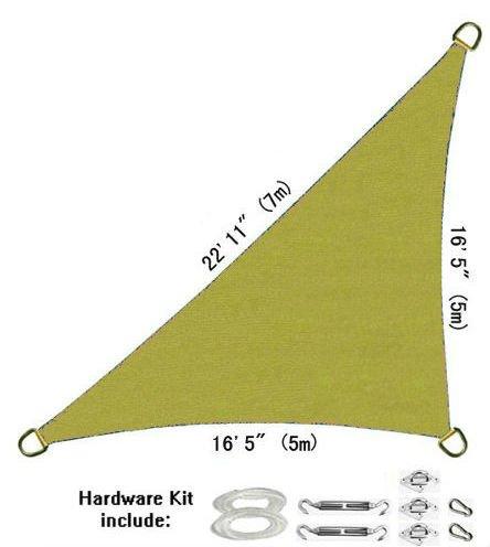 Lyshade Sun Shade Sail Canopy Right Triangle 165 X 165 X 2211 With Hardware Kit sand