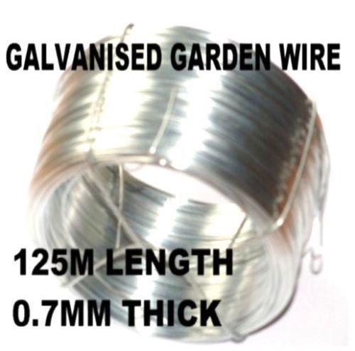 ROLL OF ZINC COATED GALVANISED GARDEN WIRE 125m x 07mm