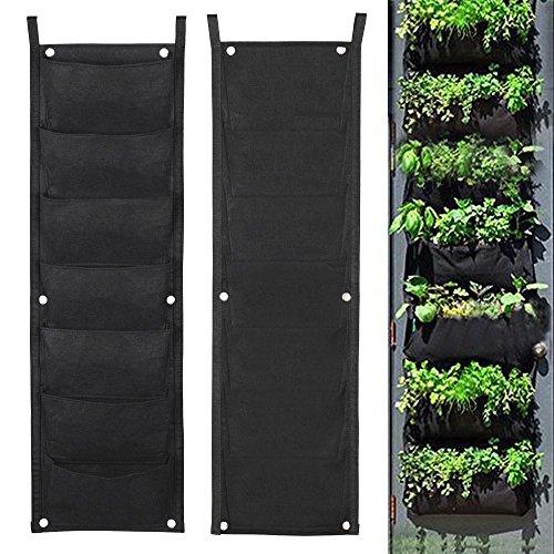 go2buy Garden Vertical Planter 7 Pocket Wall Mount Living Growing Bag Felt IndoorOutdoor Pot Eco-friendly for Yard Balcony Patio