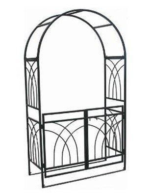 1Go Steel Garden Arch with Gate 76 High x 311 Wide Garden Arbor for Various Climbing Plant Outdoor Garden Lawn Backyard