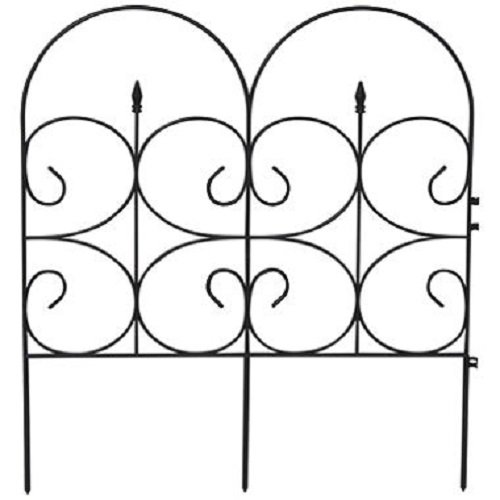 EmscoGroup 2103HD Victorian Black Resin Fleur De Lis Large Fence Garden Fencing 14 ft