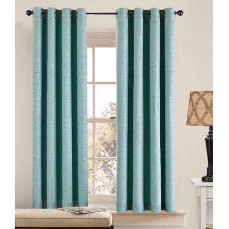 Better Homes and Gardens Basketweave Curtain Panel Aqua Blue
