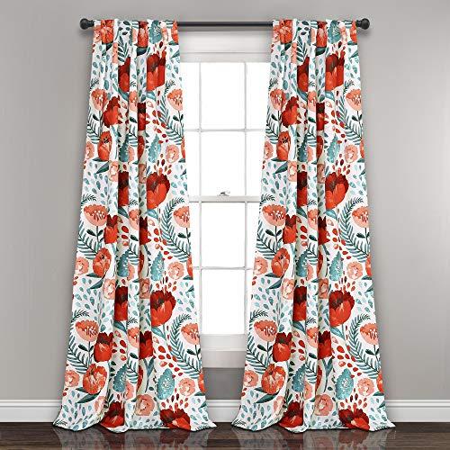 Lush Decor Poppy Garden Curtains Room Darkening Window Panel Set for Living Dining Bedroom Pair 84 L Multi