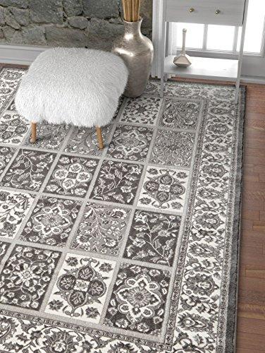 Well Woven Angora Garden Grey Modern Floral Panel Area Rug 8X11 710 X 910 Persian Oriental Carpet