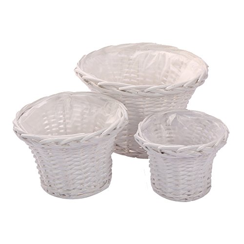 Kingwillow Hanging basketWicker woven hanging flower pot vase basket home decoration plant basket Art Craft Set of 3 Round White