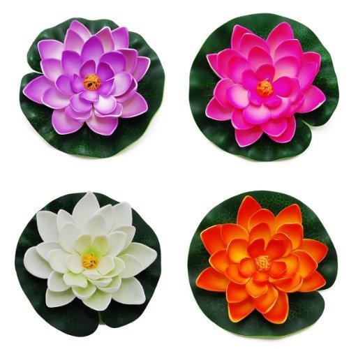 Cnz Medium Floating Pond Decor Water Lily  Lotus Foam Flower Set Of 4