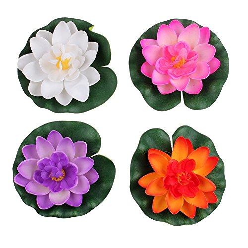 Pack Of 4 Floating Artificial Water Lily Lotus Foam Flower Aquarium Pond Decor Medium