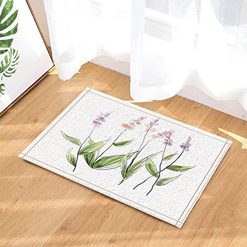 GoHeBe Floral Decor Watercolor Garden Plants with Herbs Flowers Bath Rugs Non-Slip Doormat Floor Entryways Indoor Front Door Mat Kids Bath Mat 157x236in Bathroom Accessories