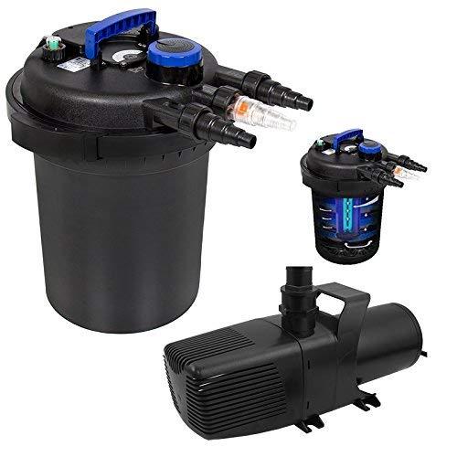 XtremepowerUS Aquarium Combo Koi Pond Bio Aquarium 13W UV-C Lamp Filter 110V 3200GPH Pump Set