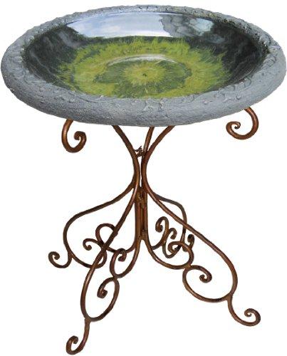 Tierra Garden 4-8184B Light Green Gloss Bird Bath Bowl with Matte Rim and Deluxe Metal Tube Base
