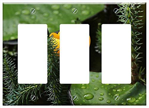 Switch Plate Triple RockerGFCI - Pond Flower Teichmummel Mummel Small Mini Blossom 2