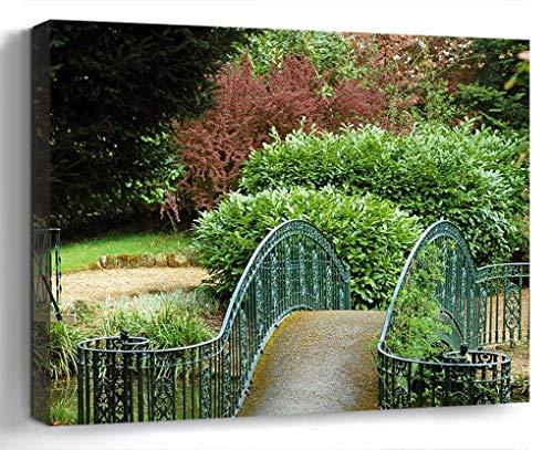 Wall Art Canvas Print Photo Artwork Home Decor 24x16 inches- Garden Gardening Spring Plants Shrubs Pond P