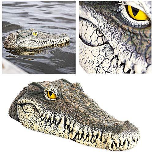 Geggur Floating Crocodile Head Fake Alligator Head Water Decoy Pond Float Decor for Pool Pond GardenPatio Funny Pond Decor 13inch