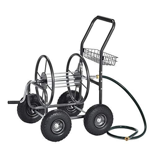 Muscle Carts Water Hose Reel Cart Portable Manual Crank Steel Mesh Basket 400 ft Capacity