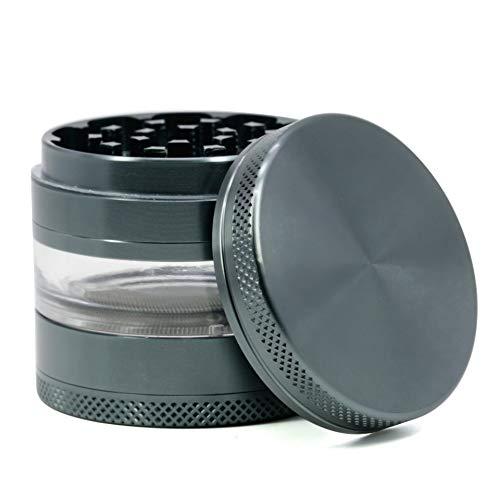CyanCloud Grinder 24 Inch 4 Piece Herb Grinder with Best Pollen Catcher Jar - Includes Stainless Steel ScreenPollen Scraper Gunmetal