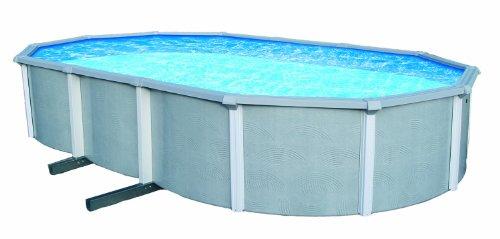 Blue Wave Zanzibar 21-feet By 41-feet Oval 54-inch Deep 8-inch Top Rail Metal Wall Swimming Pool Package