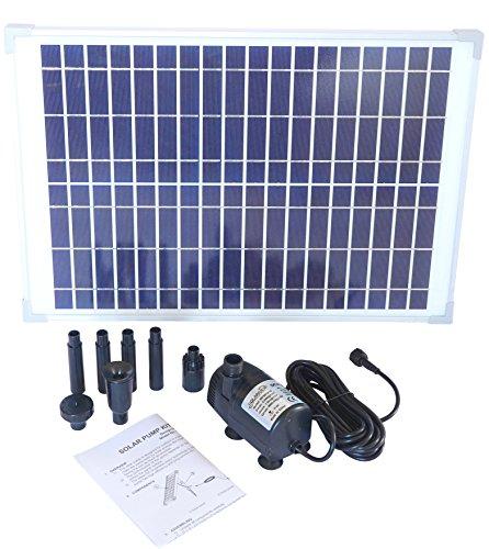 Solariver Solar Water Pump Kit - 360GPH - Submersible Pump and 20 Watt Solar Panel for Sun Powered Fountain Waterfall Pond Aeration Aquarium Aquaculture NO Battery Backup