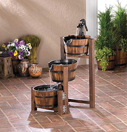 Apple Barrel Cascading Water Fountain 3 Tier FIRWOOD Outdoor GARDEN YARD PATIO