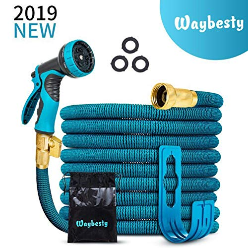 Waybesty Flexible and Expandable Garden Hose-2019 New Model Expandable Hose with Double Latex Core-34 Solid Brass Connector-Heavy Duty Leakproof Water Hose with 9 Function Spray Nozzle Blue 50